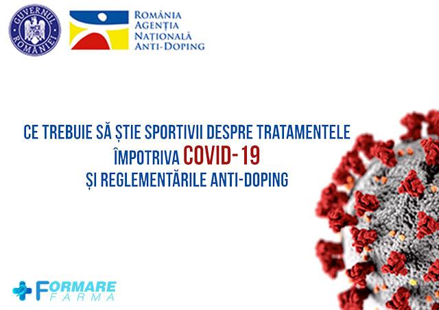 Agentia Nationala Antidoping publica lista de medicamente impotriva COVID-19 pe care sportivii le pot lua fara reteta